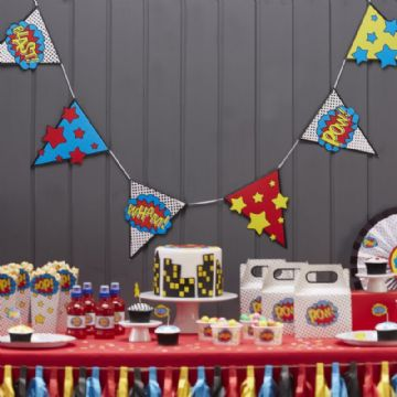 "Comic Book Superhero Bunting ""POW, BLAST, WHAM"" - 3.5m long"